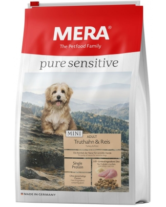 Корм для собак мелких пород Mera Pure Sensitive MINI Adult  Truthahn&Reis с индейкой и рисом 1кг.
